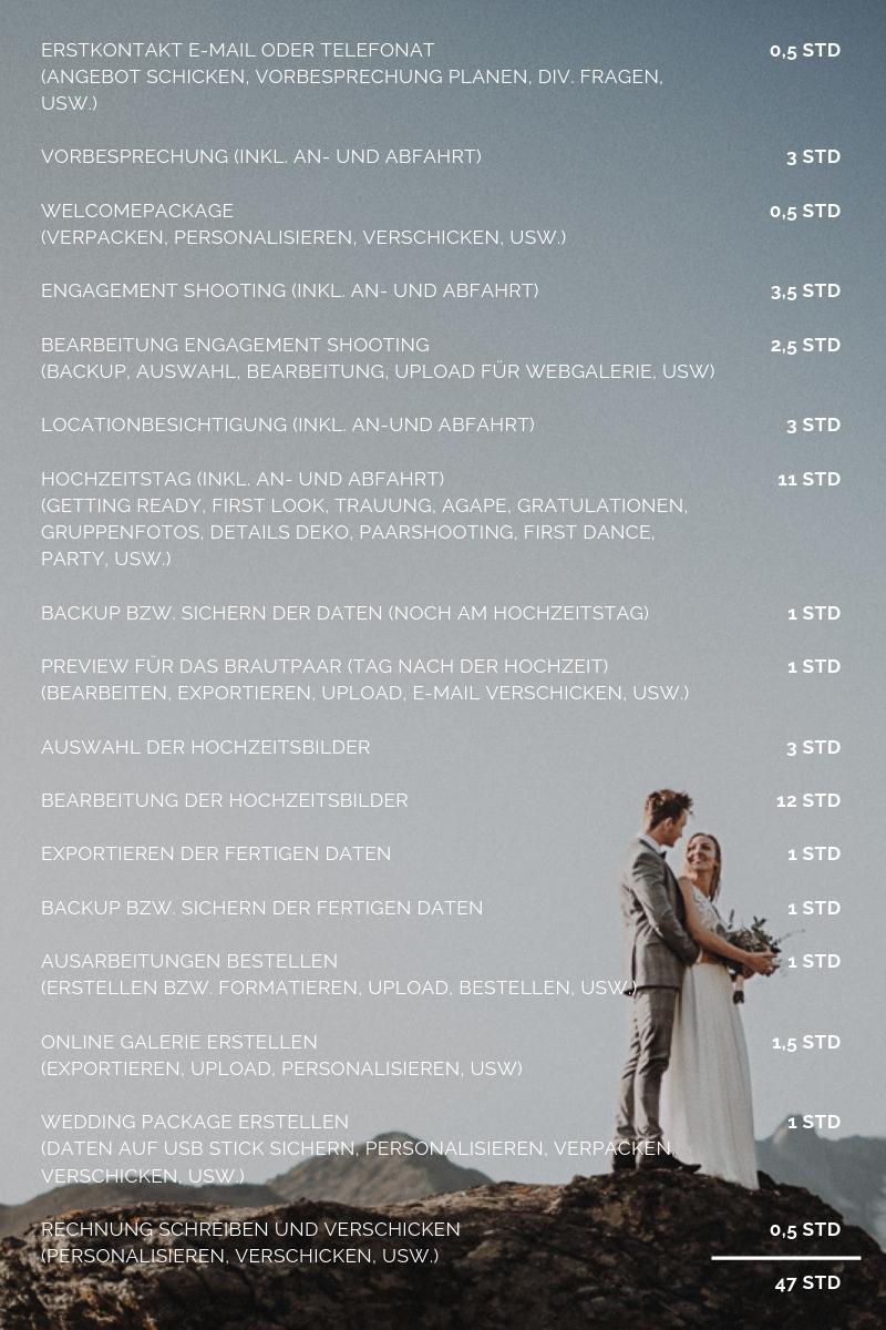 Arbeitszeit 8Std Hochzeitsreportage